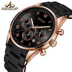 AESOP Asli Perhiasan Pria Olahraga Quartz Pria Jam Tangan Chronograph Wrist Watch Waktu Jam Jam Relogio Reloj Hombre Mens Jam Tangan