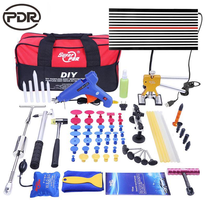PDR Tools DIY Paintless Dent Repair Auto Repair Tool Car Body Repair Kit LED Lamp Reflector Board Dent Puller Kit EU Glue Gun