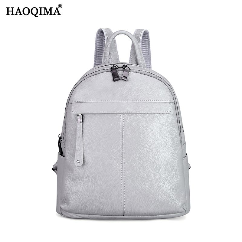 2018 Famous Brand 100% Genuine Cow Leather Female Lady Backpack First Layer Cowhide Women Preppy <font><b>Style</b></font> Zipper School ipad Bags