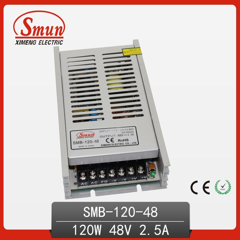 SMUN 120W 48V 2.5A AC-DC Ultra Thin Switching Power Supply With 2 Years Warranty