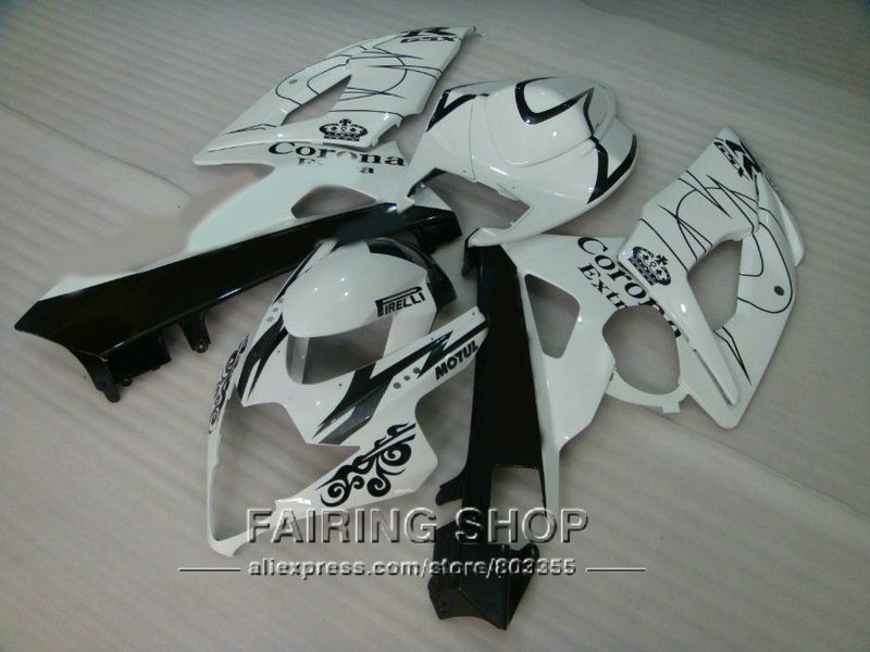 New Injection motorcycle fairing kit for Suzuki GSXR1000 05 06 classical white black fairings set GSXR 1000 2005 2006 VN08