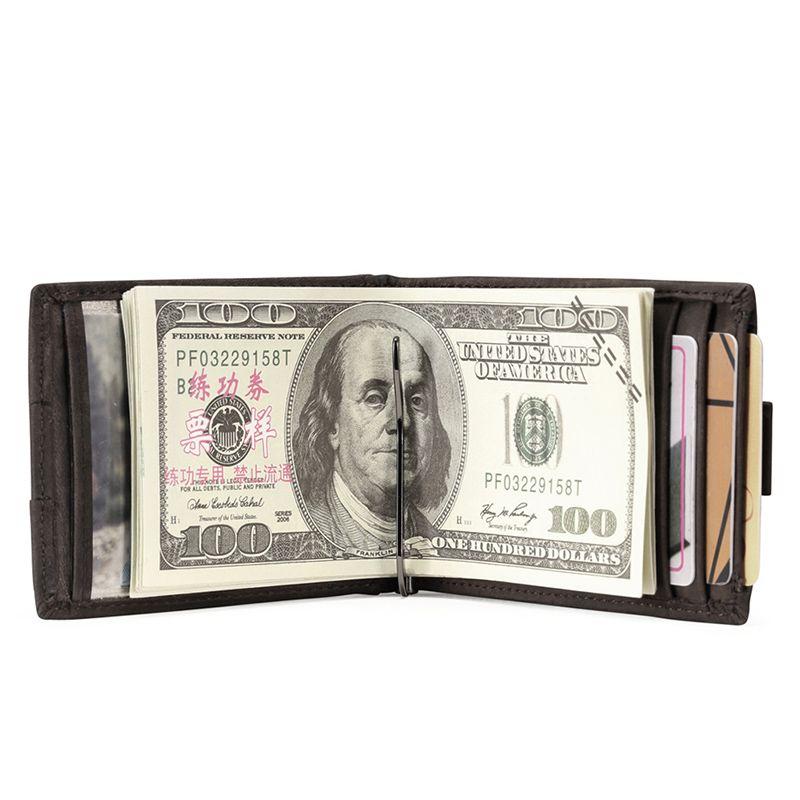Teemzone Многофункциональный стрейч тянуть Для Мужчин's Crazy Horse кожа 3-6 кредитных карт ID держатель с эластичность зажим для денег кошелек k361