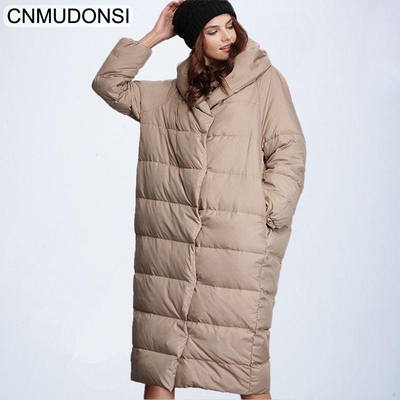 CNMUDONSI Women's Winter Fashion Jacket Thick Warm Coat Lady Cotton Parka Jacket Long jaqueta Winter jacket with hood Feminina