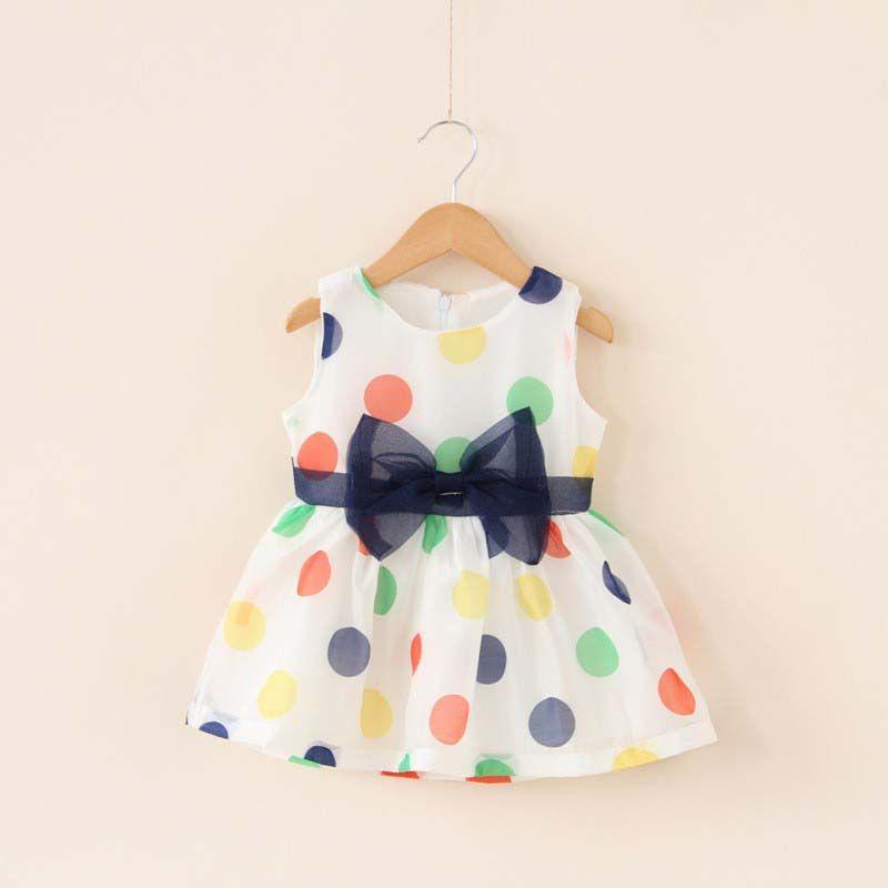 На возраст от 0 до 2 лет Платья для маленьких девочек летние Обувь для девочек жилет с бантом платье в горошек без рукавов для маленьких девоч...