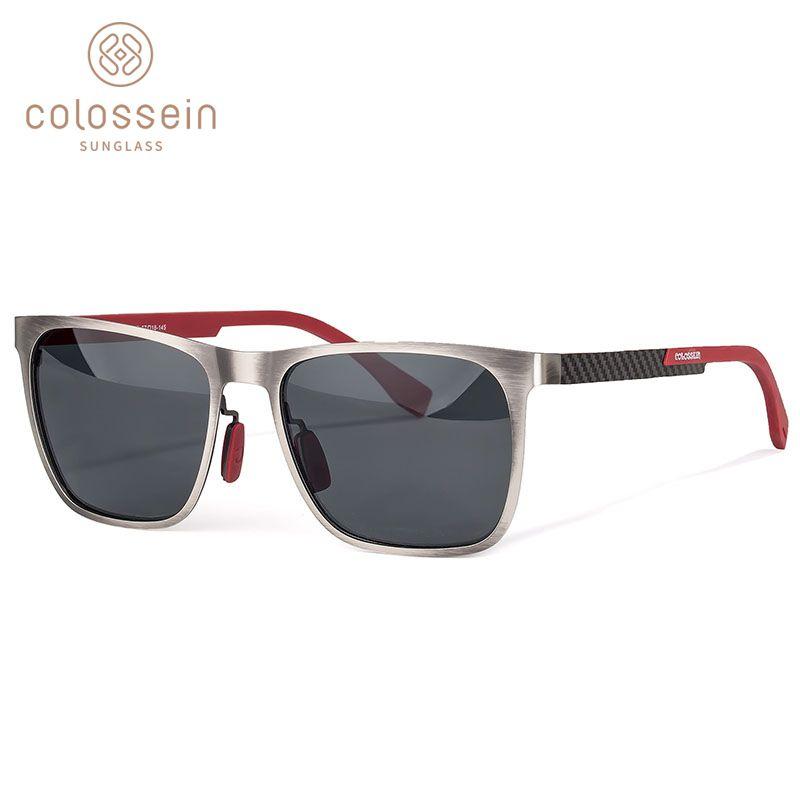 COLOSSEIN lunettes de soleil hommes polarisées classique mode métal carré cadre lentille gris bleu Style pour femmes lunettes UV400 Protection