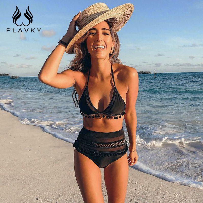 2019 Sexy licou rétro maille évider String Biquini maillot de bain femme maillot de bain taille haute grande taille maillots de bain femmes Bikini