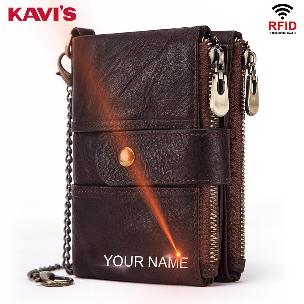 KAVIS cuir véritable gravure gratuite Rfid portefeuille hommes Crazy Horse portefeuilles porte-monnaie court homme sac d'argent Mini Walet qualité
