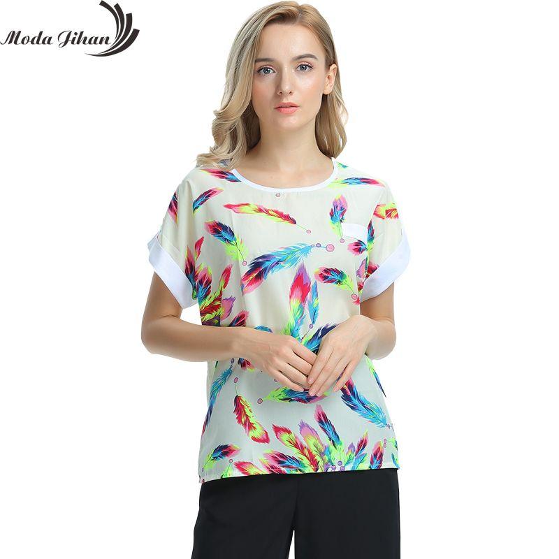 Femmes Blouses chemises en mousseline de soie Feminina Top t-shirt court femme vêtements Blusa Camisa été hauts chemise Floral mode