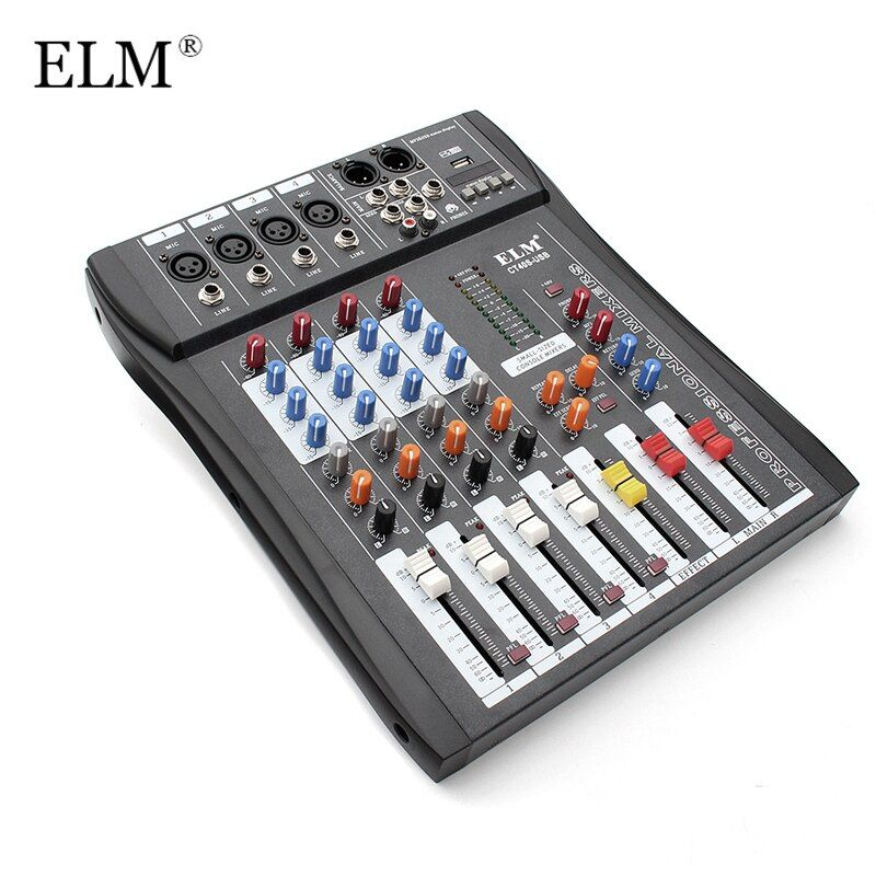 ELM Professional 4 Channel Digital Sound Audio DJ Mixer Mixing Microphone Amplifier Console 48V Phantom Power With USB