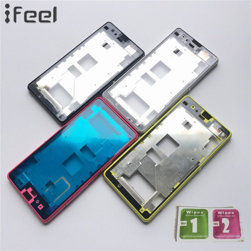 IFEEL New LCD Holder Front A-Cover With Middle Housing Bezel Frame Part+Side Button For Sony Xperia Z1mini D5503 M51W Z1 Compact