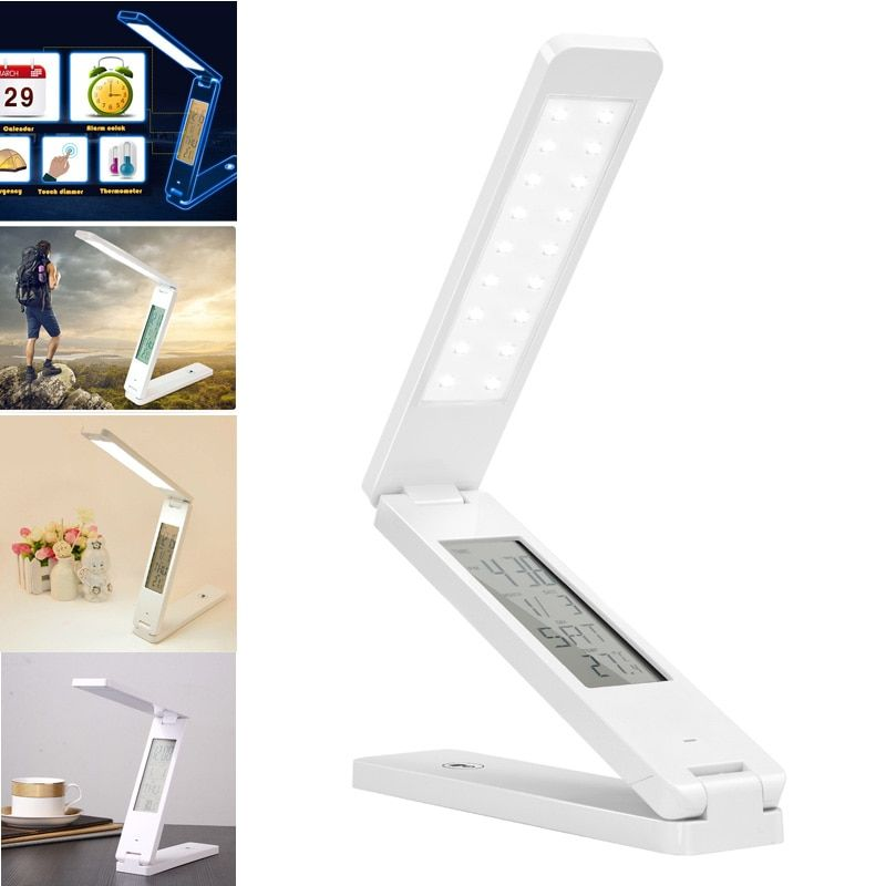 Dimmable Protect Eyesight Foldable Reading Led Light Table Lamp Touch Control Calendar Alarm Clock usb charging Led Lamp