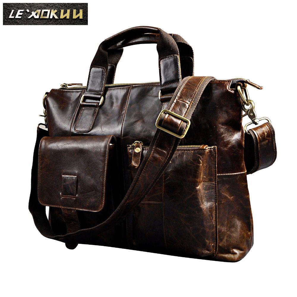 Men Genuine Leather Antique Retro Business Briefcase 15.6