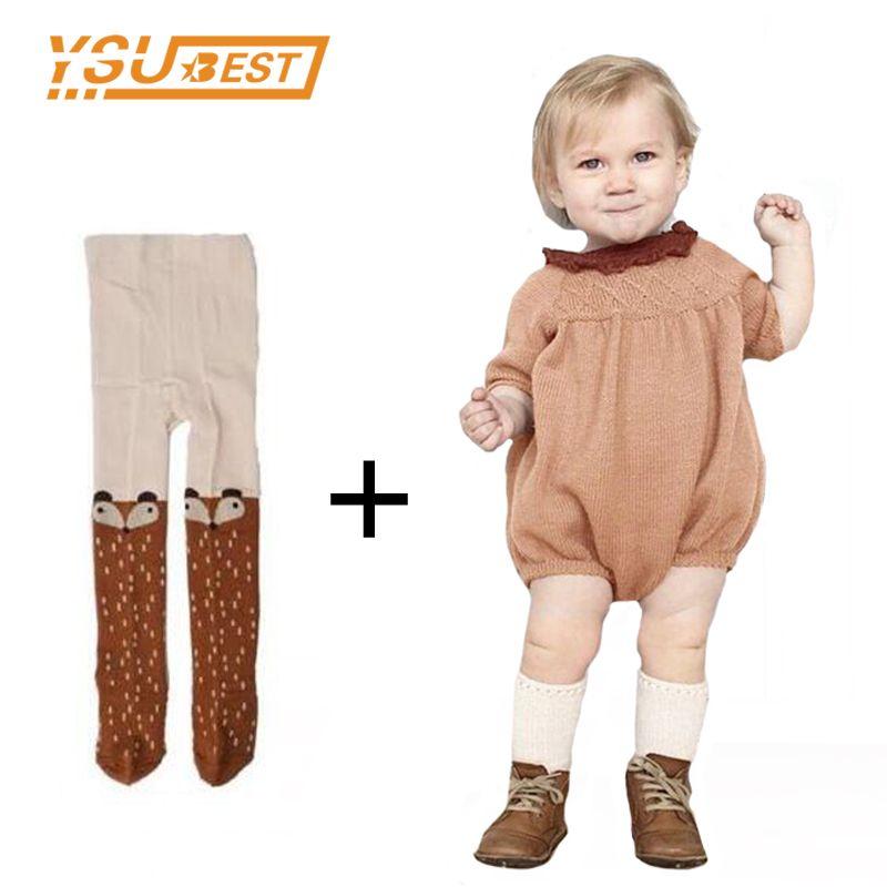 Осень 2017 г. с длинным рукавом для маленьких девочек Комбинезон вязаное платье 0-5Yrs вязаные детские комбинезоны хлопок детская одежда малыше...
