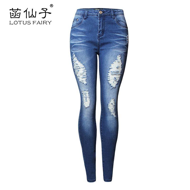 Синий середины талии Push Up Джинсы для женщин Для женщин стрейч рваные Фредди джинсовые штаны для девочек Femme хлопковые обтягивающие пикантны...