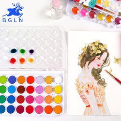 BGLN 12/16/24/28/36 couleurs Solide Waterolor Peinture Définir la Couleur Lumineuse Portable Aquarelle Pigment ensemble Pour Peinture Art Fournitures