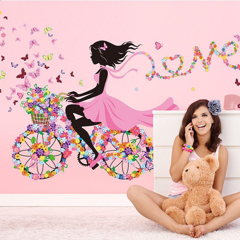 [SHIJUEHEZI] Coloré Papillons Vélo Fille Stickers Muraux Vinyle DIY Art Mural pour Enfants Chambres Maternelle Décoration