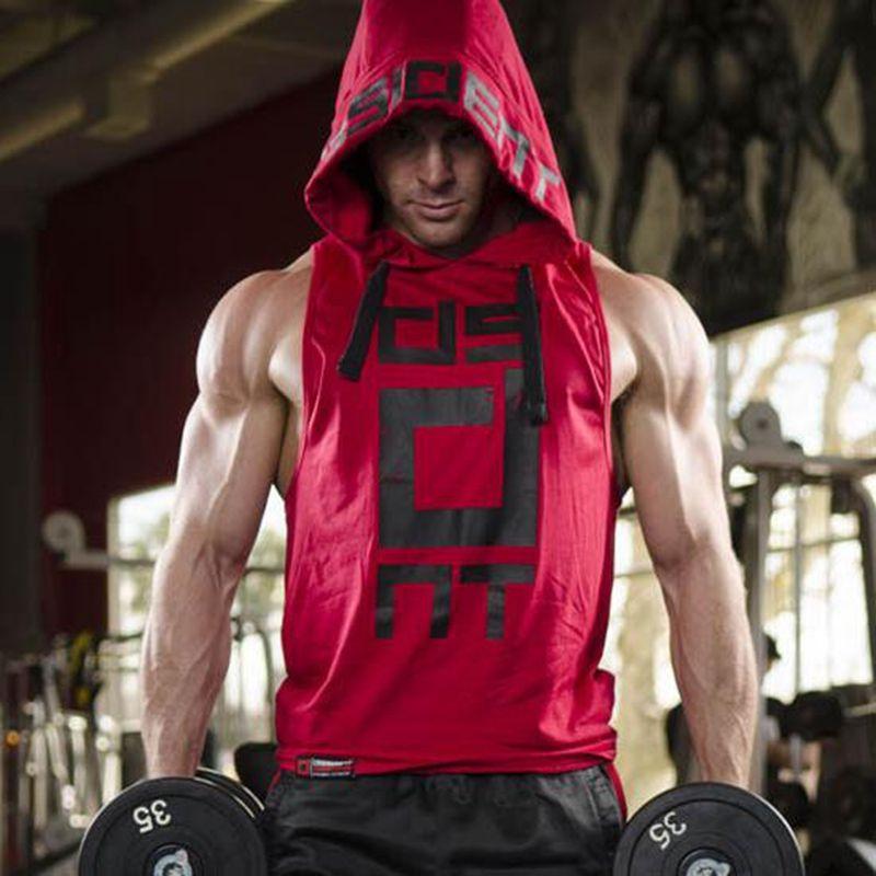 Hommes À Capuche sans manches maillot coton Homme gilet gilet sans manches débardeur hommes Workout fitness sweat shirts Homme