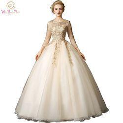 Berjalan Di Samping Anda Emas Quinceanera Dresses pernikahan & de 15 anos debutan Bola Gowns Dengan Lace Appliques 3/4 Lengan Panjang Beaded