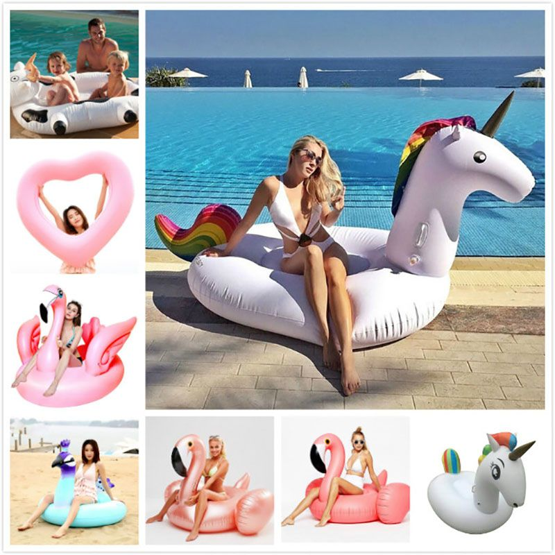 Giant Flower Print Swan Inflatable Float For Adult Pool Party Toys Green Flamingo Ride-On Air Mattress Swimming Ring boia