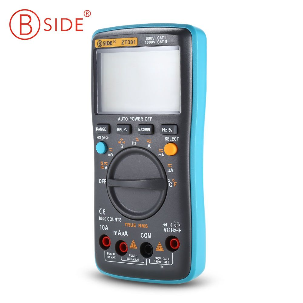 BSIDE ZT301 8000 Counts Digital Multimeter LCD True RMS Auto Range Multimeter AC/DC Voltage Electrical Tester Meter Handheld