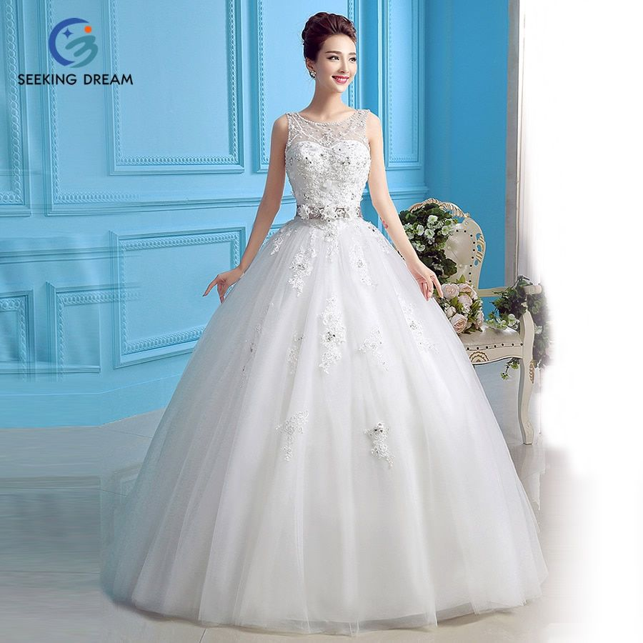 2016 Ivory White Ball Gown Dress One Shoulder Strapless Wedding Dress Flowers Lace Up Princess XL6180 Customize 2 4 8 10 12 +++