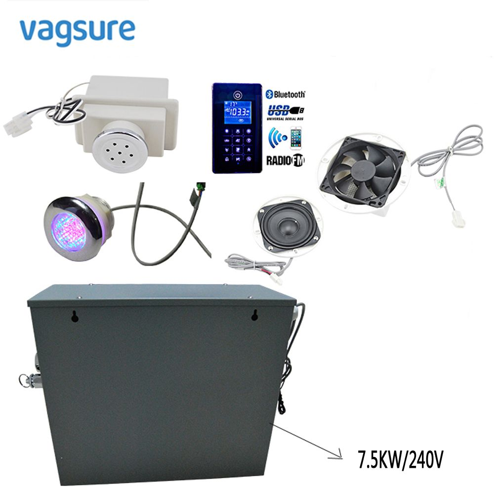 7.5KW/240V Bath Steam Generator With Full Steam LED light Ozone Spa Generator Steam Control Speaker bluetooth Shower Accessories