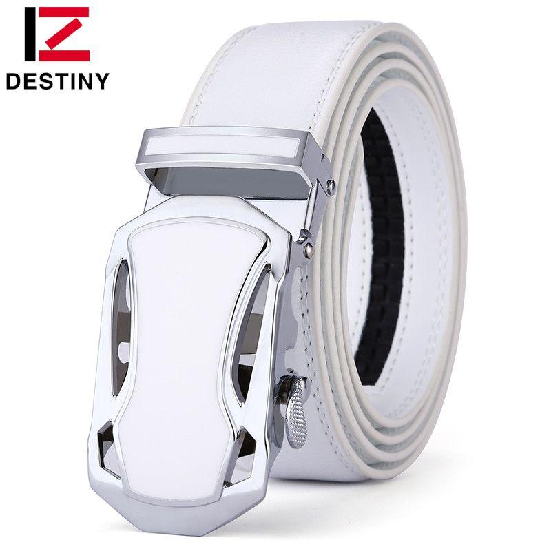 DESTINY Belt Men Luxury <font><b>Famous</b></font> Brand Designer High Quality Male Genuine Leather Strap White Automatic Buckle Belt Ceinture Homme