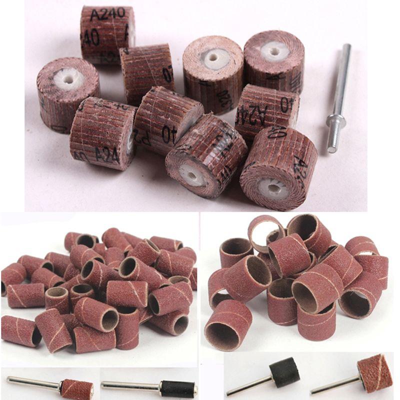 70 pièces meule de papier abrasif dremel outil rotatif accessoires disque abrasif abrasif papier abrasif polissage pour outils à bois