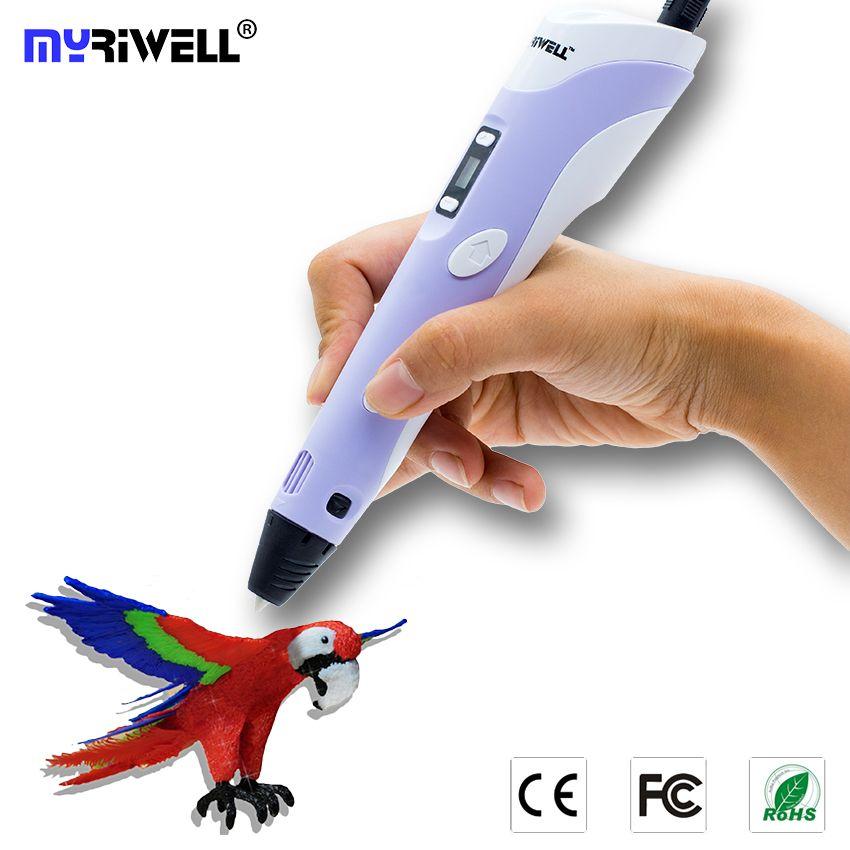 3D Ручка myriwell 2nd поколения rp-100b LED Дисплей DIY 3D-принтеры ручка с 3 вида цветов 9 м ABS искусств 3d ручки для детский рисунок Инструменты
