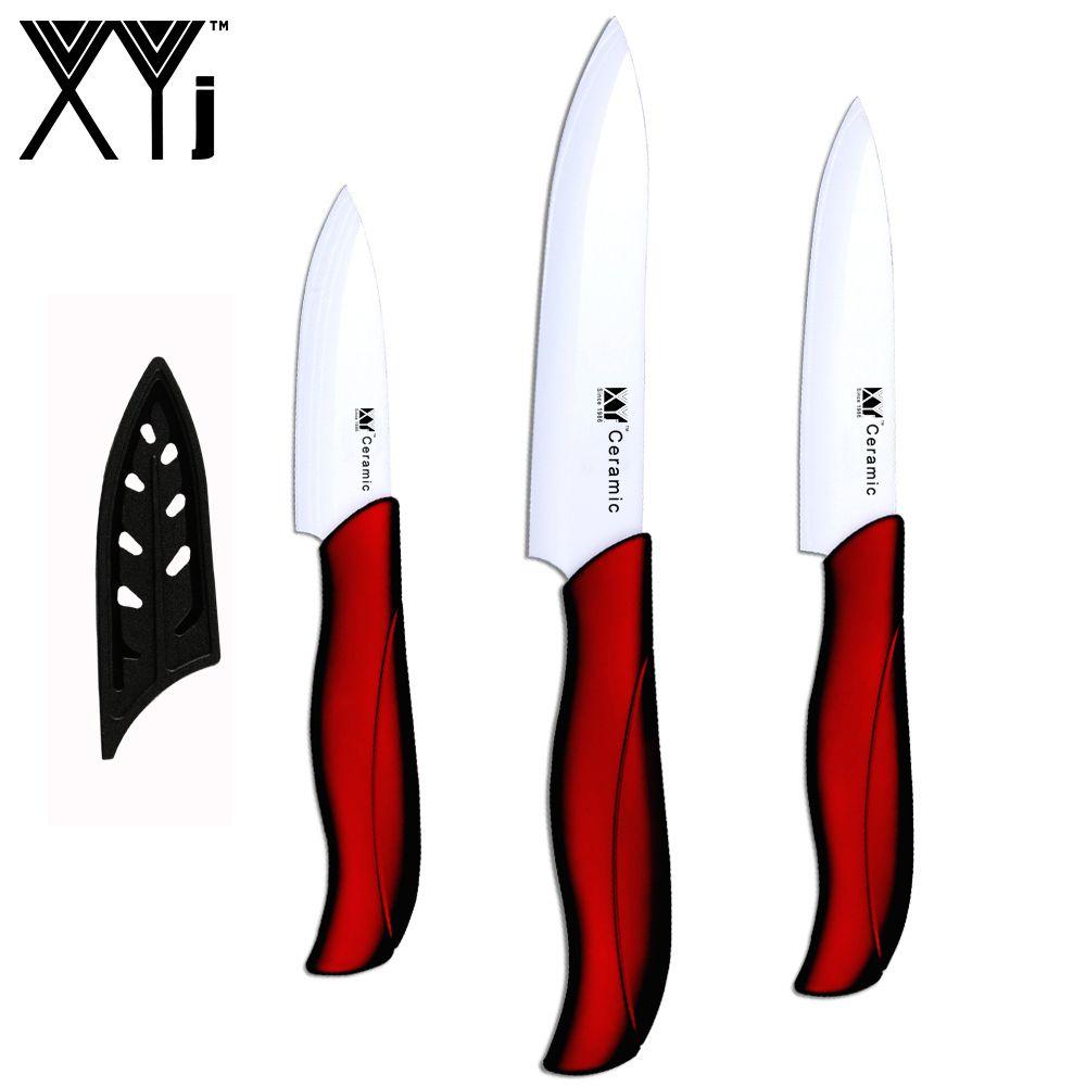 Couteaux en céramique de qualité supérieure couteaux de tranchage utilitaires ensemble de trois pièces couteaux de cuisine nouveauté couteaux de cuisine en céramique rouge
