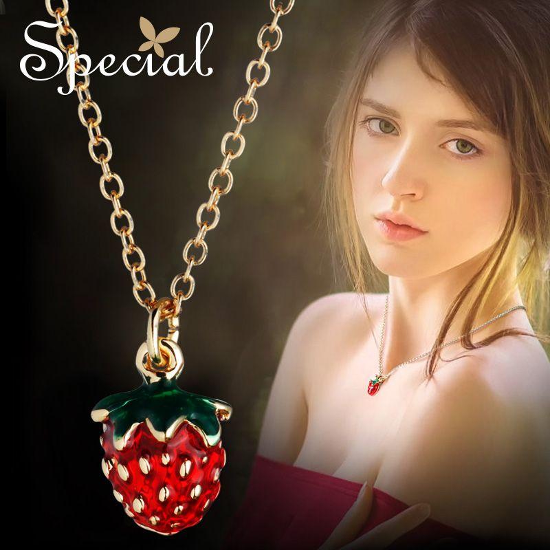 Marque spéciale mode fraise Maxi collier femmes Choker colliers et pendentifs belle émail Fruite bijoux cadeaux S1618N