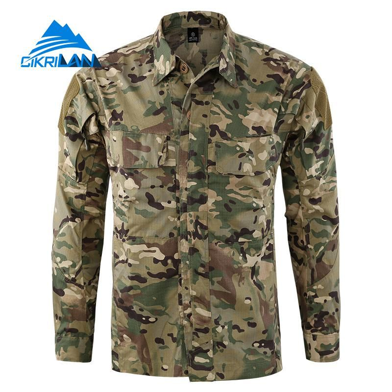 New Mens Army Camo Sport Button Down Outdoor Combat Tactical Shirts Men Long Sleeve Climbing Hunting Tops Running Hiking Shirt