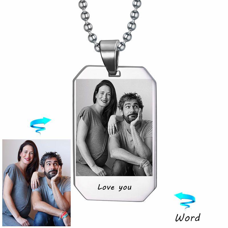 Photo personnalisée et collier Nam Photo personnalisée Laser gravé cadeau vétéran militaire mari petit ami peut livraison directe