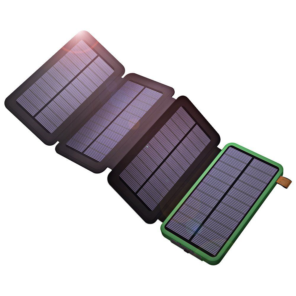 USB Solar Powered Phone Charger 10000mAh Portable Solar Power Bank for iPhone iPad Samsung Xiaomi Outdoor Camping