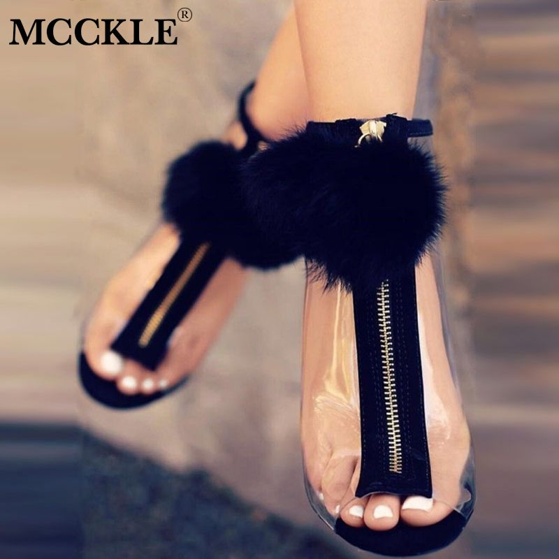 MCCKLE Women Faux Fur Ball Sexy Stilettos Pumps High Heels Spring Transparent Zipper Peep Toe Party Shoes For Girls Fashion 2018
