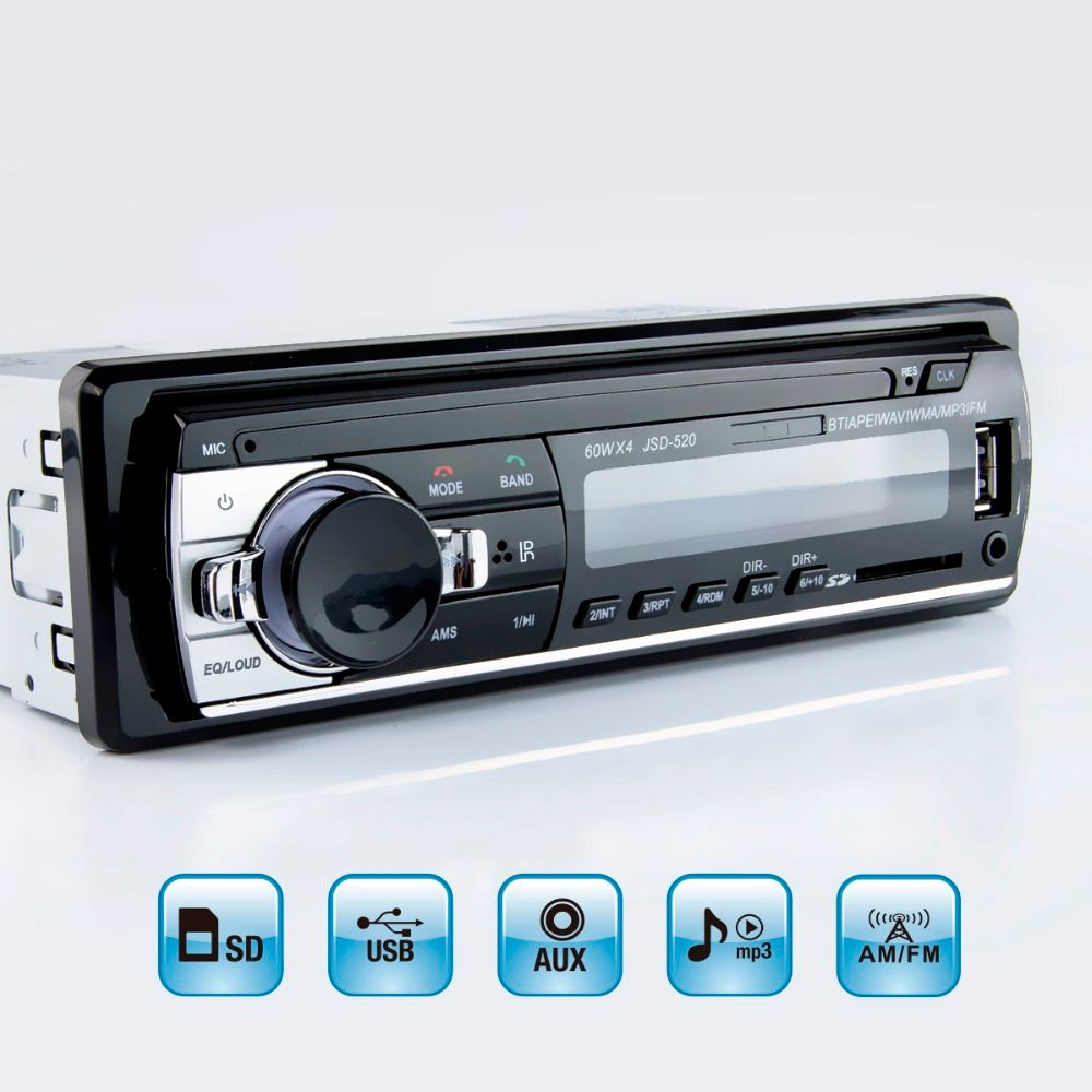 Viecar MP3 Player FM Car Radio Stereo Audio Music USB SD Digital Bluetooth with In Dash Slot AUX Input
