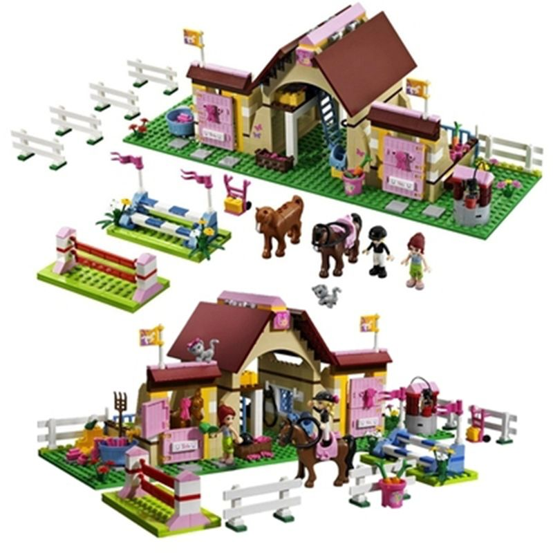 10163 Bela Friends Heartlake Stables Building Blocks Kits Mia's Farm Horse Figures Girls Legoings Friends Figures Toys Model