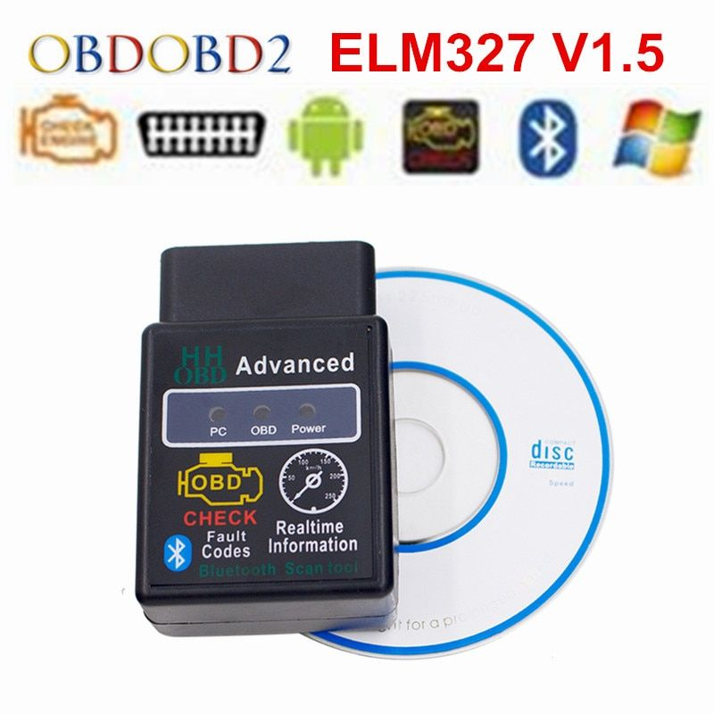 HH OBD ELM327 Bluetooth V1.5 OBD2 OBDII CAN BUS Check Engine Car Auto Diagnostic Scanner Tool Interface Adapter For Android/PC