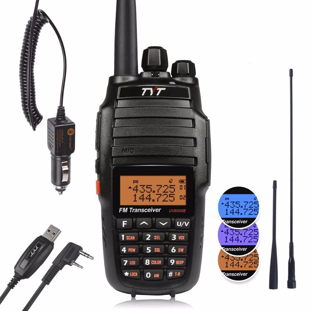 TYT UV8000E Dual Band Handheld 136-174/400-520MHz Tri Power 10W Cross-band Repeater 3600mA Transceiver Radio Walkie Talkie Cable