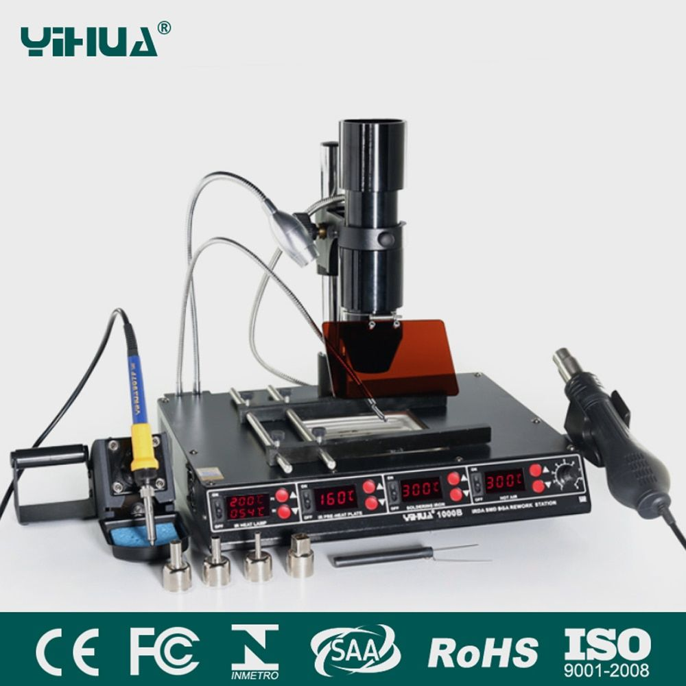 YIHUA 1000B 3 Functions in 1 Infrared Bga Rework Station SMD Hot Air Gun+75W Soldering Irons+540W Preheating Station 110V/220V