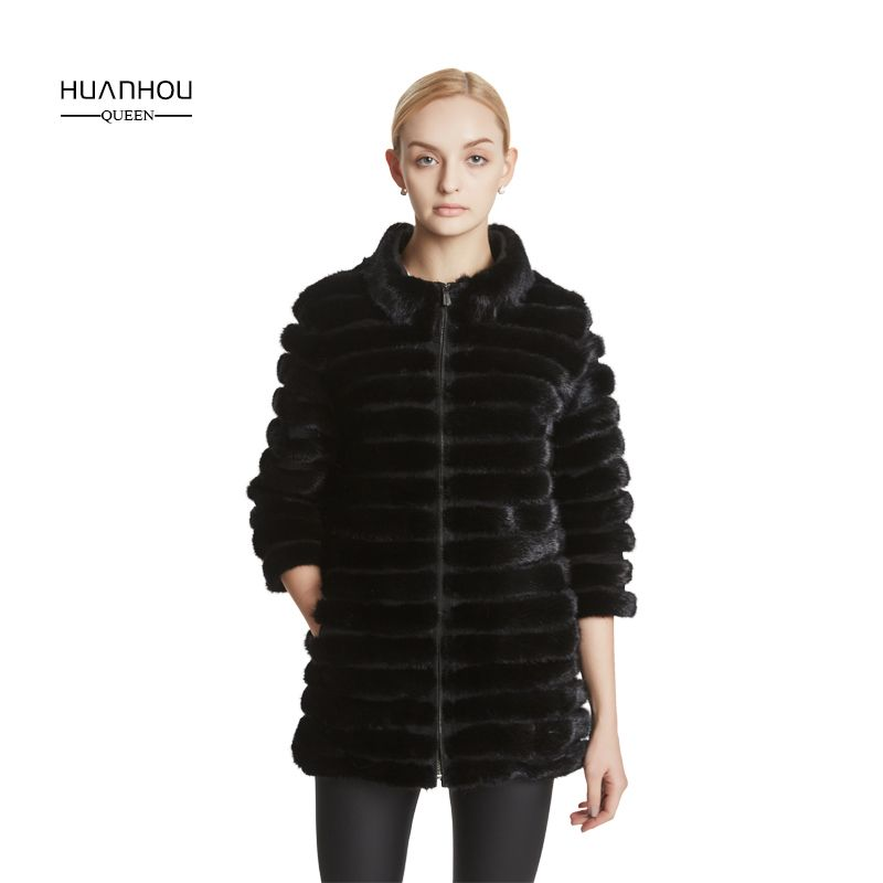 Huanhou queen Real mink fur women's coat with mandarin collar, 2017 winter popular warm fashion extra large plus size coat.