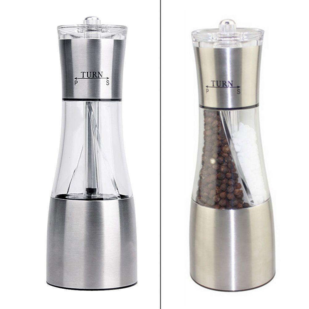 2 en 1 sel poivre moulin épices poivre moulin en acier Portable cuisine manuel sel poivre moulin Muller outil