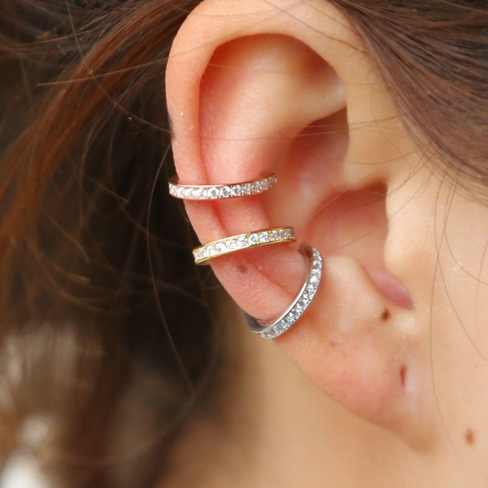 925 boucles d'oreilles en argent sterling boucle d'oreille Clip sur rond cz cercle pile 3 couleurs pas Piercing femmes boucle d'oreille accessoires