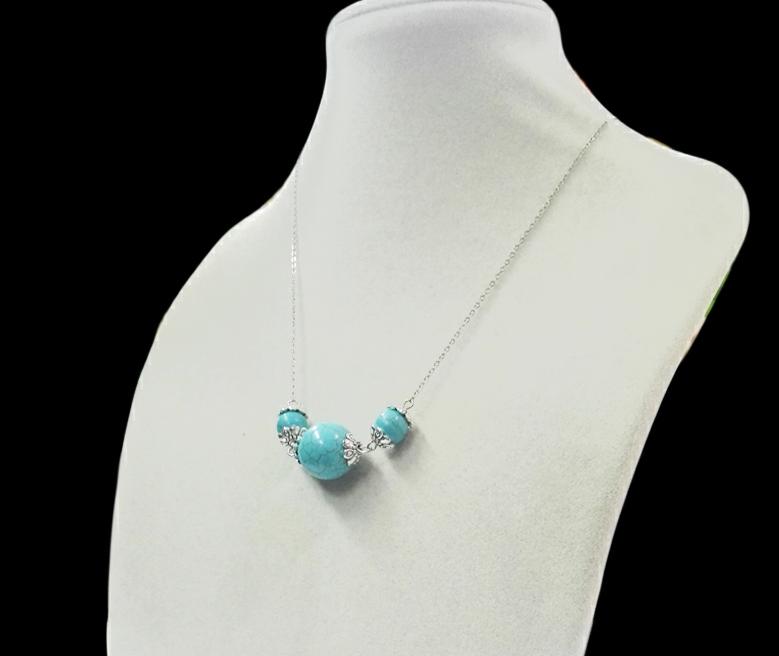 Wedding Woman Jewelry 10mm-18mm Round stone Bead Choker Necklace Handmade Charm