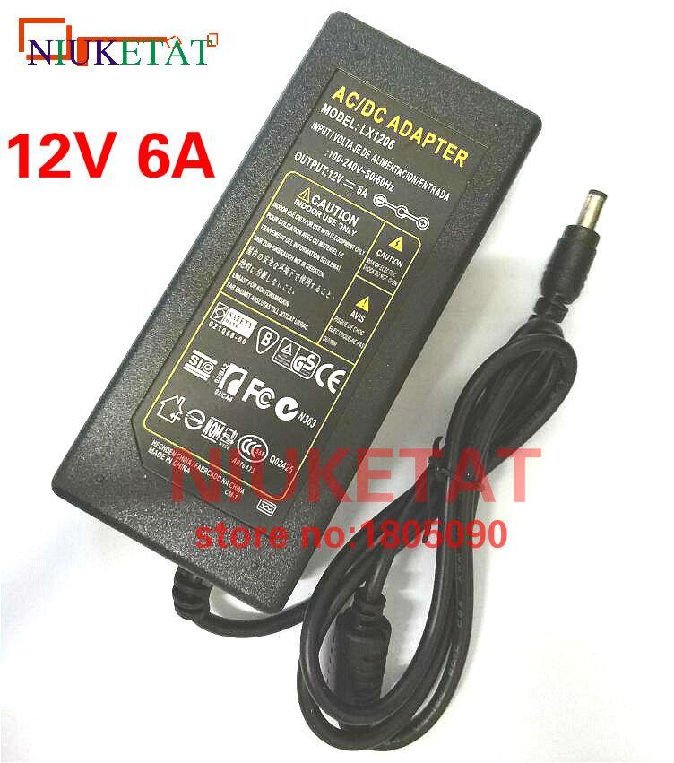 1 pièces 12 V 6A 12V6A AC100V-240V lumière LED adaptateur secteur alimentation LED Transformateur Adaptateur secteur pour LED bande 5050 2835 pas avec ligne