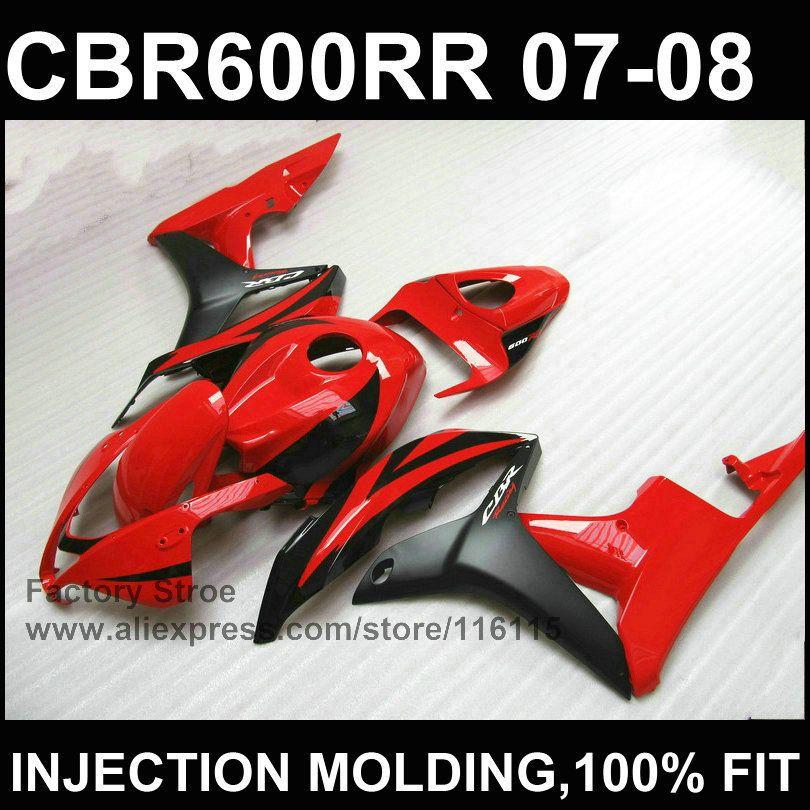 Sauber rot schwarz spritzguss bodysets für HONDA CBR 600 RR verkleidung 2007 2008 kundenspezifische verkleidung cbr600rr 07 08