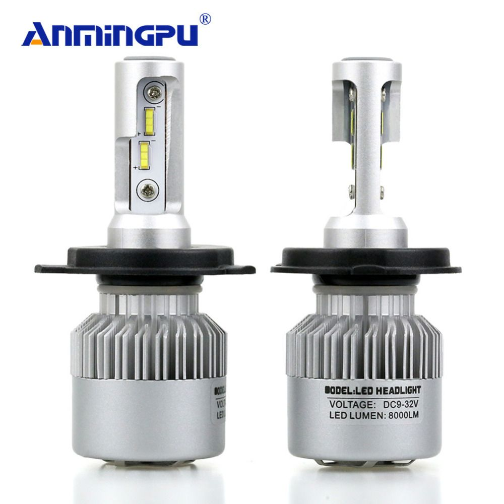 ANMINGPU 2017 Car Light 72W 16000LM/pair Headlight Bulbs H4 Led Car Headlight 16000lm Lampada Led H4 8000lm/Bulb Auto Light Lamp