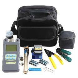 AuA 9 en 1 Fibra óptica FTTH kit de herramientas con Fibra Cleaver medidor de energía óptica 5 km localizador visual