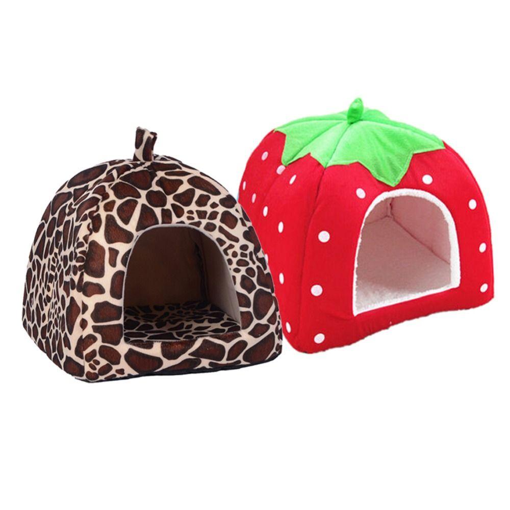 Chenil pour animaux de compagnie nid de chat Teddy chien fraise léopard coton lit chaud produits pour animaux de compagnie pliable maison de chien