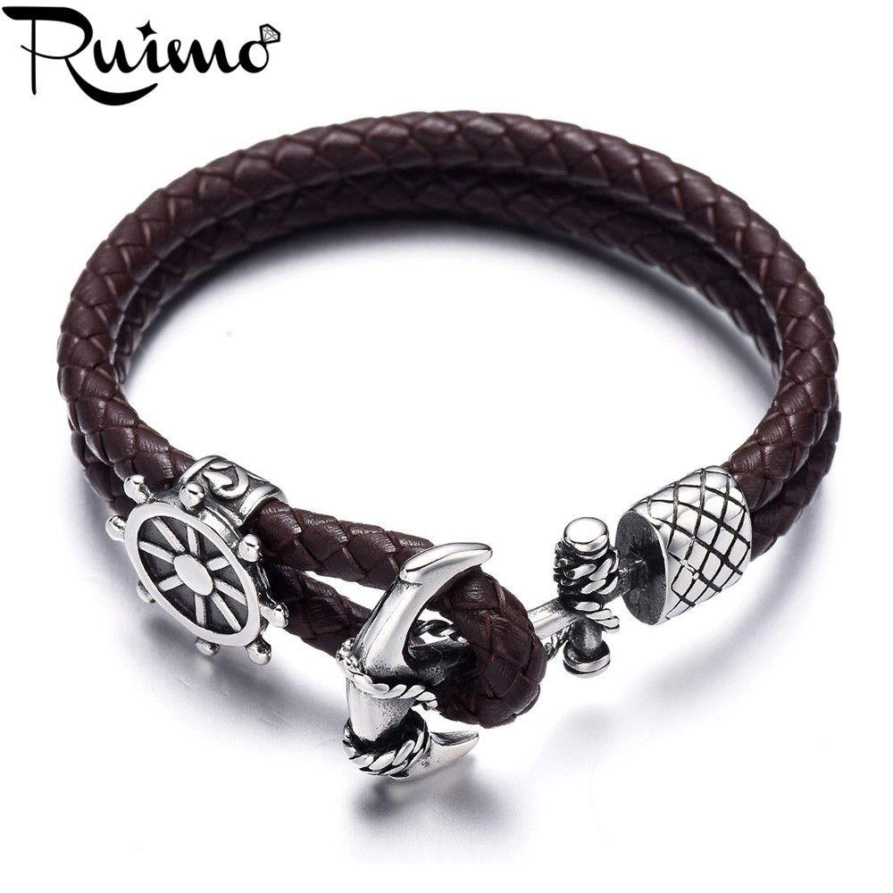 Bracelet ancre RUIMO acier inoxydable 316l fermoir ancre gouvernail nautique véritable tressé hommes Wrap